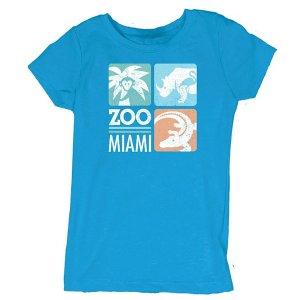 YOUTH PRINCESS CUT TURQUOISE ZOO MIAMI LOGO TEE