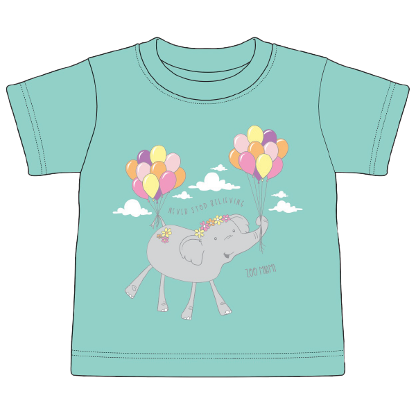 TODDLER SHORT SLEEVE ELEPHANT BALLOONS